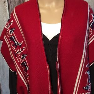 Vintage Jackets & Coats - Vintage Red White Navy Buggy Horse Theme Poncho